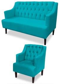 Kit Sofá Namoradeira 120 cm + Poltrona Classic Capitonê Suede Azul Tiffany