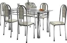 Jogo de Mesa com 06 Cadeiras Brasil Cromado Assento Bege - Marcheli