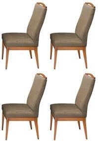 Conjunto 4 Cadeiras Decorativa Lara Aveludado Cappuccino