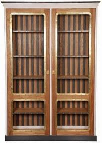 Vitrine Victorian de Madeira com 4 Prateleiras e Portas de Vidro