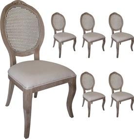 Jogo 6 Cadeiras Medalhão Lille - Avelã - Tecido Facto Fendi / Palha Clássico Kleiner Schein
