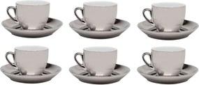 Jogo De Xícaras De Porcelana De Café Com Pires Prata Versa 90ml 6 Peças 17370 Wolff