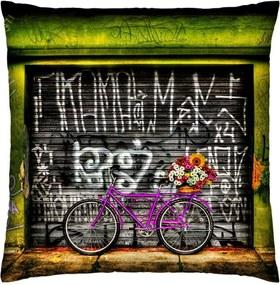 Almofada Colours Creative Photo Decor Bicicleta bike pink Cinza