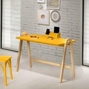 Escrivaninha com Porta Objetos Ringo - Natural/ Laca Amarelo