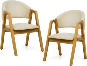 Kit 02 Cadeiras Para Sala de Jantar Cozinha Nik Oregon Linho Rústico Bege - Gran Belo