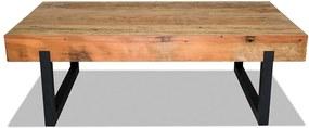 Mesa de Centro Estella em Alumínio e Tampo de Madeira Deck Peróba