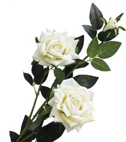 Galho Haste Rosa Branca Flor Artificial 95cm Parece Natural