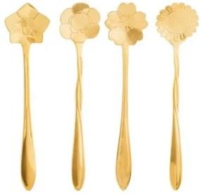 Conj. 4 Colheres para Chá Flores - Dourada
