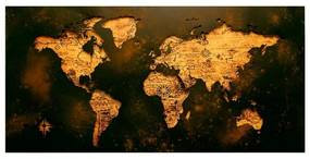 Quadro Decorativo Mapa Mundi Vintage - KF 46892 40x60 (Moldura 520)