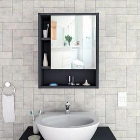 Espelheira de Banheiro  Slim Preto Appunto