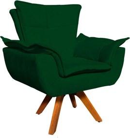 Poltrona Decorativa Giratória Gran Opala Base Madeira Suede Verde - D'Rossi