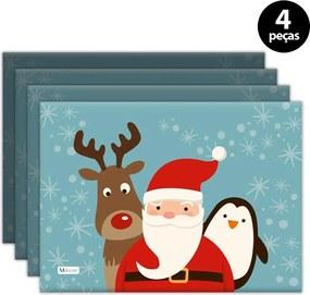 Jogo Americano Mdecore Natal Papai Noel 40x28 cm Azul4pçs