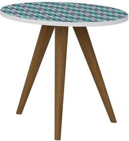 Mesa de Canto Decorativa Lyam Decor Retrô Estampa Azul