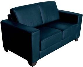Sofá 2 Lugares Sala de Estar 155cm Estocolmo Couro Azul - Gran Belo