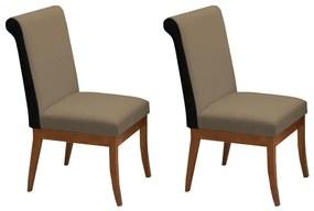 Conjunto 2 Cadeiras Larissa Aveludado Nude + Couríssimo Preto