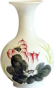 Floreiro em Porcelana com Flores Verde e Branco D14cm x A23cm