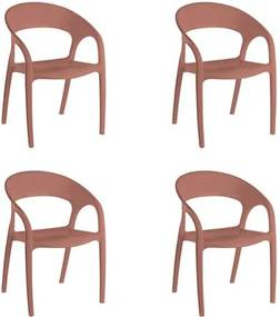 Kit 4 Cadeiras Glass Plus em Polipropileno Kappesberg - Terracota