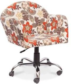 Cadeira Decorativa Giratória, Pés Cromados, Bege Floral, Summer