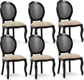Kit 06 Cadeiras Para Sala de Jantar Cozinha Isla Provençal Preto Linho Rústico Bege - Gran Belo