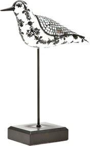 escultura pássaro MICA com detalhes espelhados