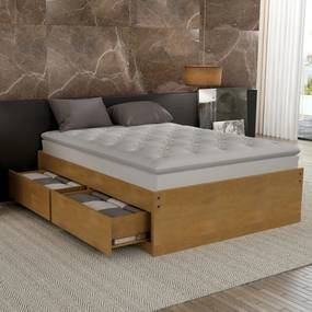 Base Box Queen Libanesa com 4 Gavetas Madeira Maciça Bedroom -