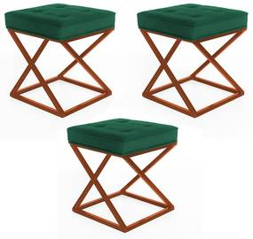 Kit 3 Puffs Decorativos Tokyo Quadrado Base de Ferro Bronze Suede Verde Bandeira