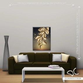 Quadro Folha Dourada Due - Médio 86cm x 65cm, Tela + Moldura Prata