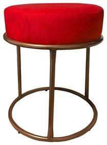 Puff Redondo Decorativo Luxe Base de Aço Cobre Suede Vermelho - Sheep Estofados - Vermelho
