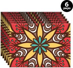 Kit 6pçs Jogo Americano Mdecor Abstrato 40x28cm Vermelho