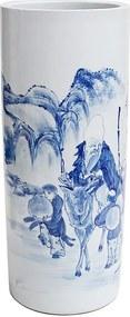 Porta Guarda-Chuva em Porcelana Redondo Azul e Branco D27cm x A60cm