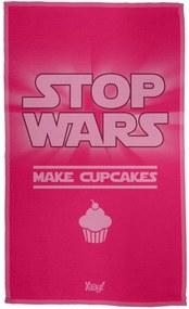 Pano de Prato Stop Wars Make Cupcakes Geek10 - Rosa