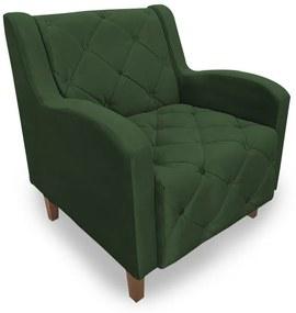 Poltrona Decorativa Munique Pés Palito Suede Verde - Sheep Estofados - Verde escuro
