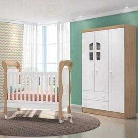 Quarto de Bebê Guarda Roupa Amore 3 Portas e Berço Colonial Carvalho/Branco - Qmovi