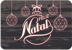 Tapete Decorativo Mdecore Feliz Natal Enfeites Cinza40x60cm
