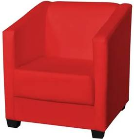 Poltrona Decorativa Valéria com Pés em PVC Corino Vermelho - JS Móveis