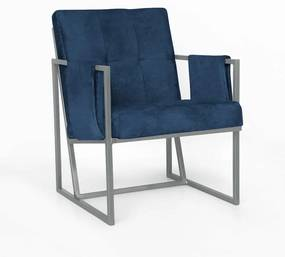 Poltrona Megan Luxo  Decorativo Base Prata Suede Azul Marinho