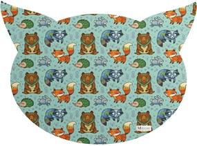 Tapete PET Mdecore Cabeça de Gato Animais Verde54x39cm