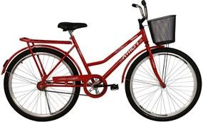 Bicicleta Aro 26 Venus com Pedal com Cestão Vermelha Athor Bikes