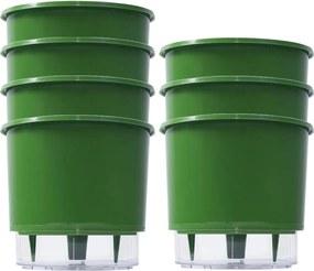 Jogo 7 Vaso Raiz Auto Irrigável Rainbow Verde Escuro 12x11cm