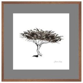 Quadro Decorativo Figurativo Arvore da Vida Algarrobo Preto e Branco 50x50 - CZ 44061