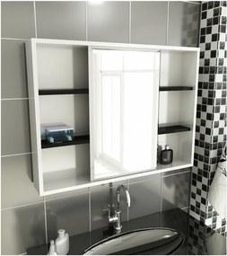 Espelheira para Banheiro Modelo 22 80 cm Branca e Preta Tomdo