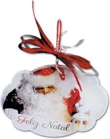 Placa Móbile Média Papai Noel Laço Vermelho em MDF - 19x13 cm
