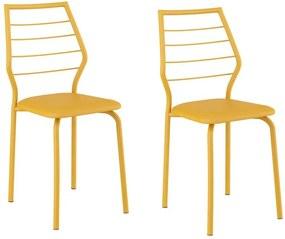 Cadeiras para Cozinha Kit 2 Cadeiras 1716 Amarelo Ouro - Carraro Móveis