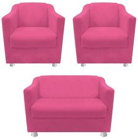 kit 02 Poltronas e  01 Namoradeira Tilla Corano Pink - ADJ DECOR