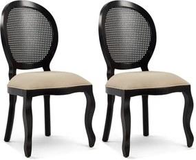 Kit 02 Cadeiras Para Sala de Jantar Cozinha Isla Provençal Preto Linho Rústico Bege - Gran Belo
