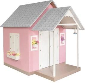 Casinha de Brinquedo com Telhado de Tijolos Rosa - Criança Feliz