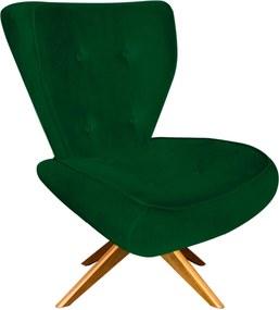 Poltrona Decorativa Tathy Suede Verde com Base Giratória de Madeira  - D'Rossi