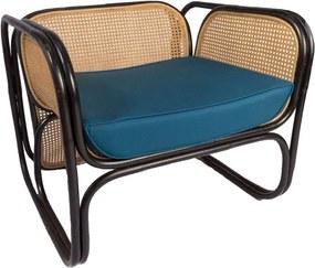 Cadeira em Rattan com Almofada Azul