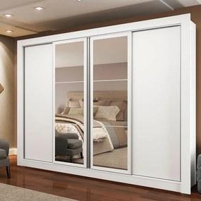 Guarda-Roupa Casal Madesa Alabama 4 Portas de Correr com Espelhos Branco Cor:Branco