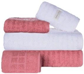 Toalha de Banho 100% Algodão jogo com 2 banho 2 rosto 1 piso Fio Penteado Branca e Rose